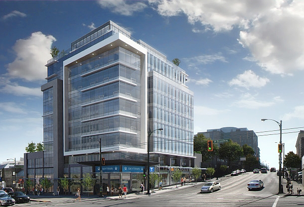Artist rendering of new building going up at 988 West Broadway.